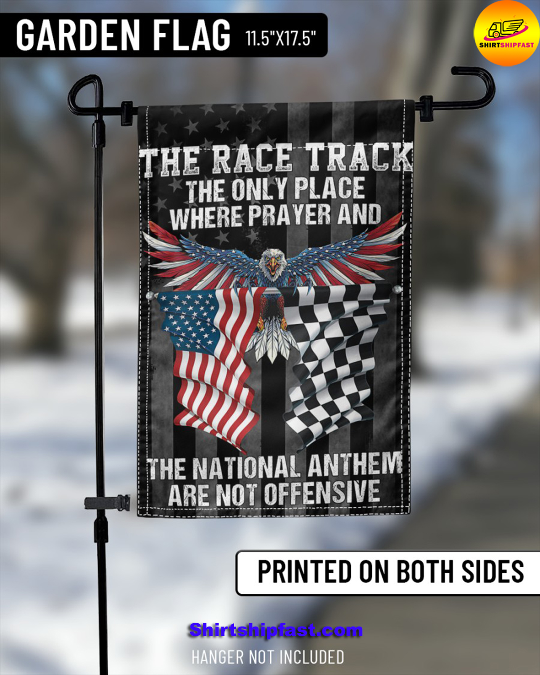 Eagle The race track the only place where prayer and the national anthem are not offensive flag - Picture 1