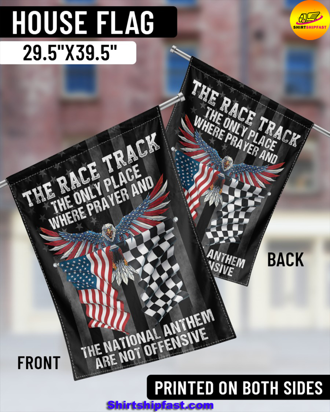 Eagle The race track the only place where prayer and the national anthem are not offensive flag - Picture 2
