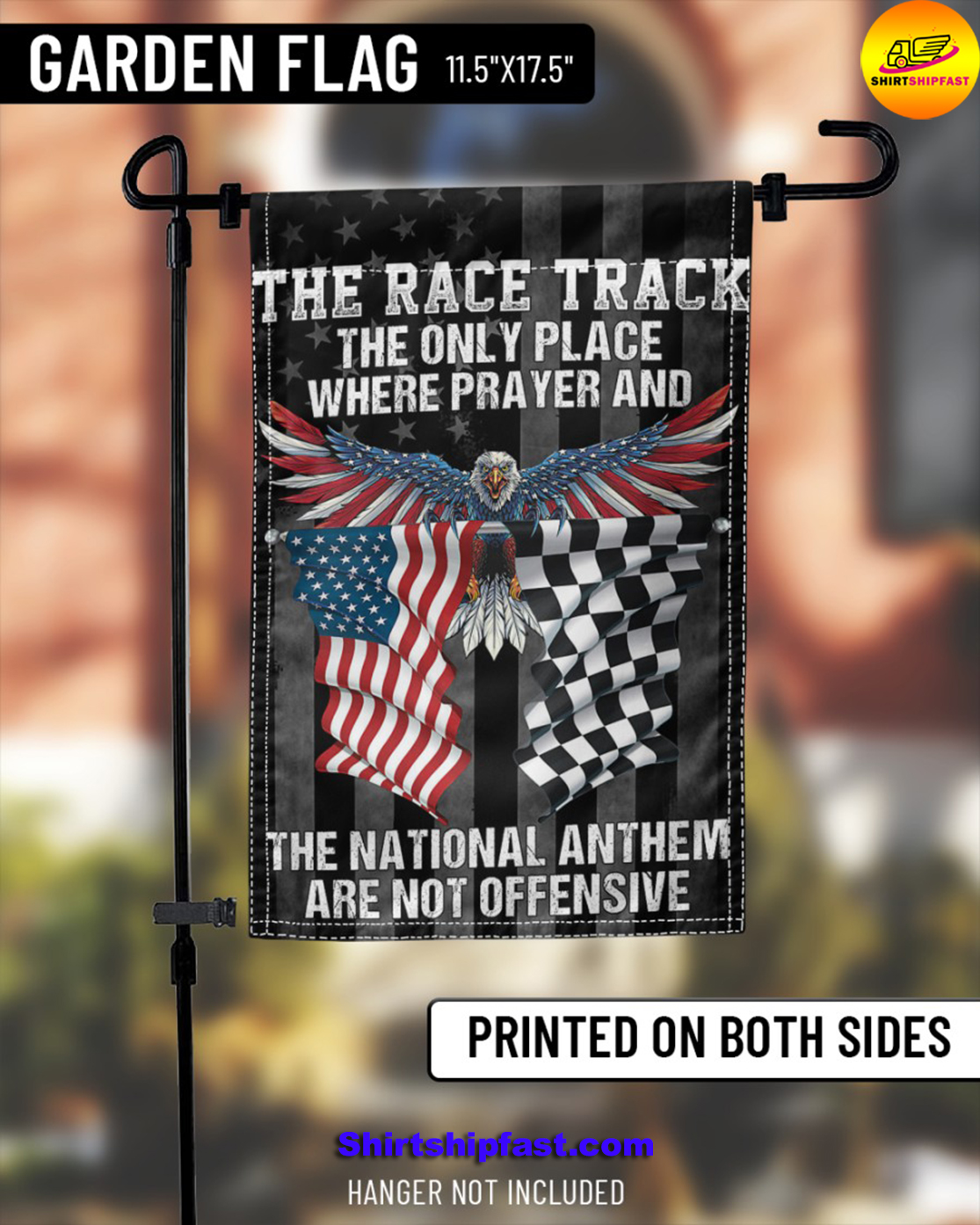 Eagle The race track the only place where prayer and the national anthem are not offensive flag - Picture 3