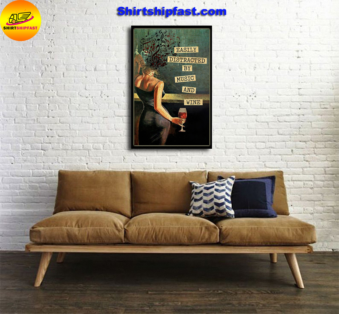 Easily distracted by music and wine vintage text poster - Picture 2