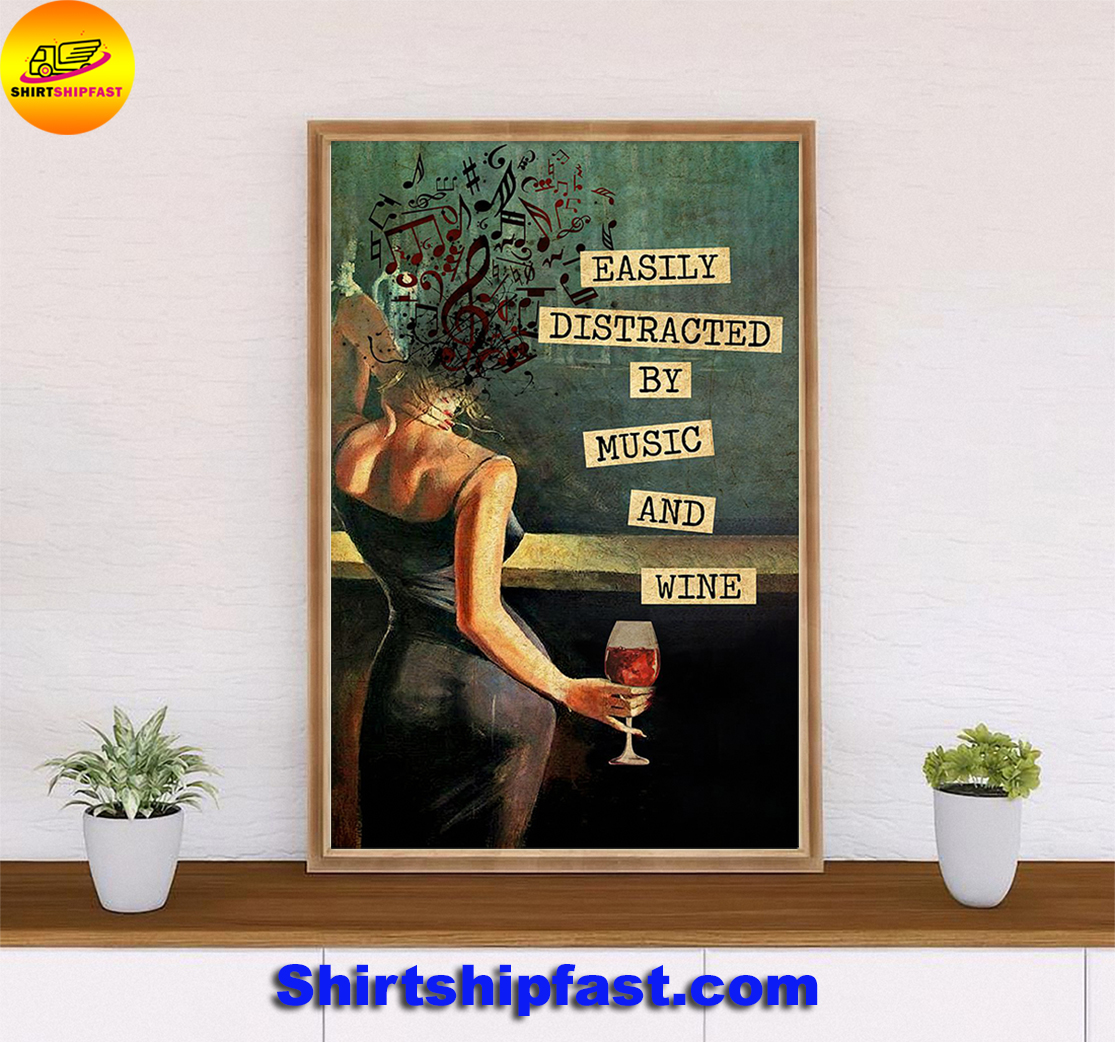 Easily distracted by music and wine vintage text poster - Picture 3