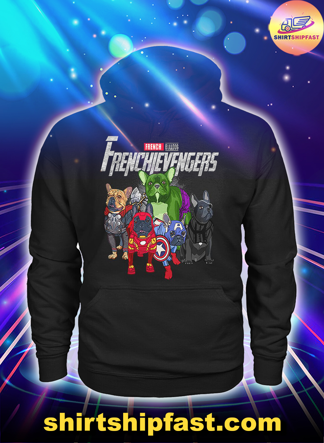 Frenchievengers French Bulldogs Avengers Marvel hoodie