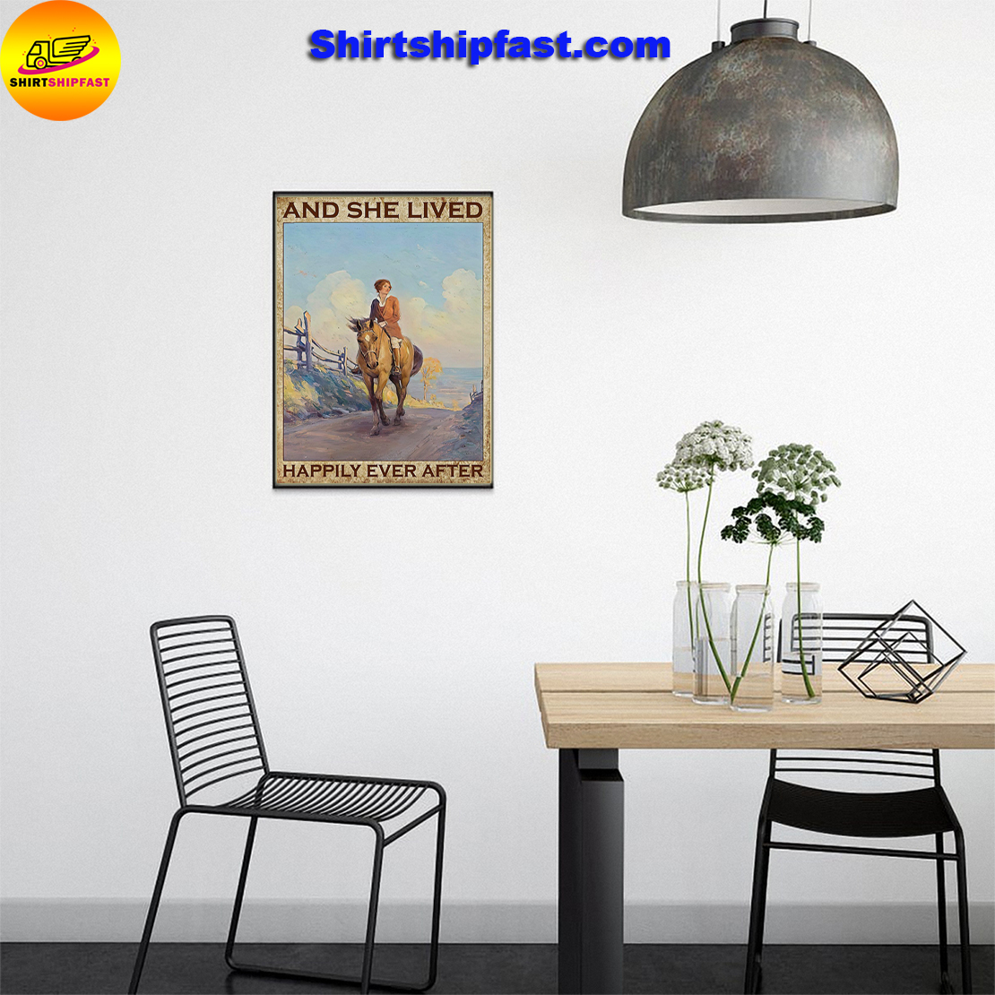 Girl and horse And she lived happily ever after poster - Picture 2