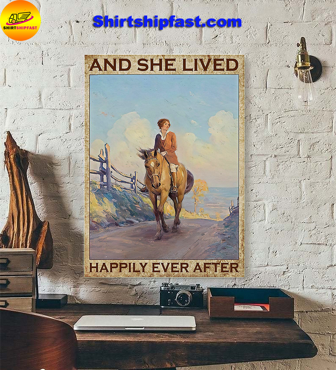 Girl and horse And she lived happily ever after poster
