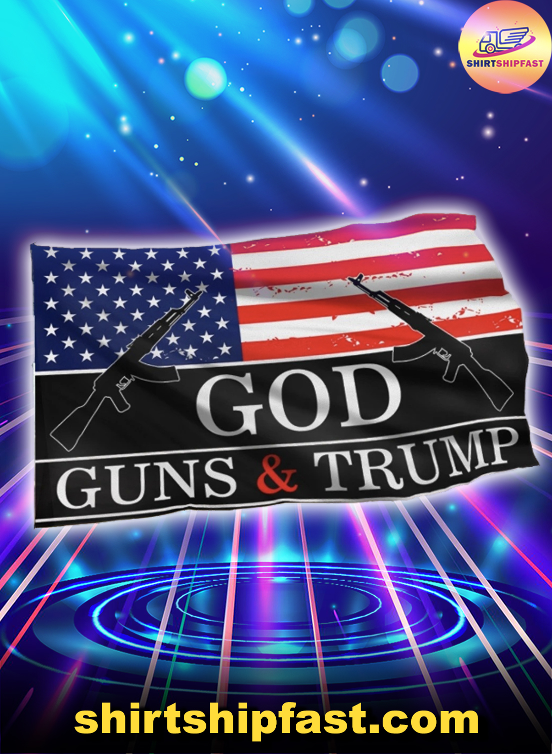God guns and Trump flag - House and Garden Flag - Picture 1