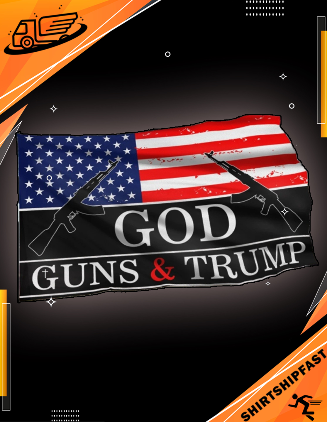 God guns and Trump flag - House and Garden Flag - Picture 3