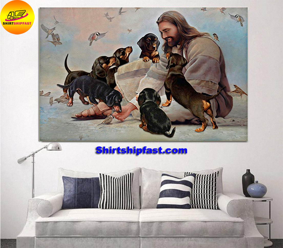 God surrounded by Dachshund angels gift for you poster - Picture 1
