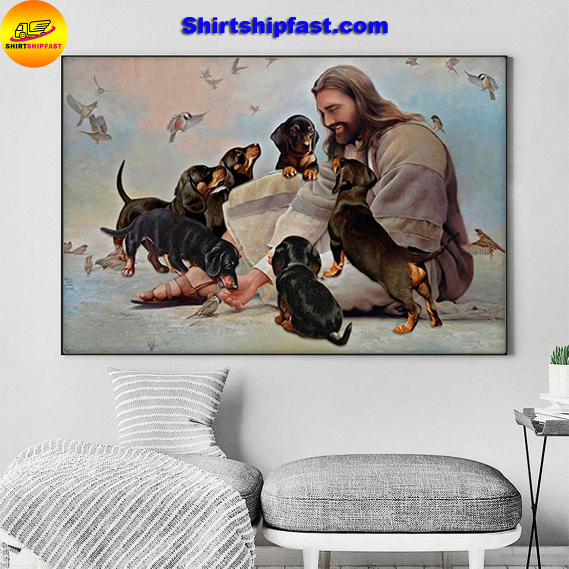 God surrounded by Dachshund angels gift for you poster - Picture 2