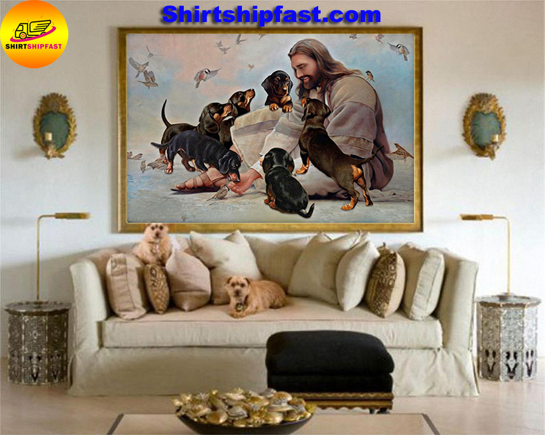God surrounded by Dachshund angels gift for you poster - Picture 3