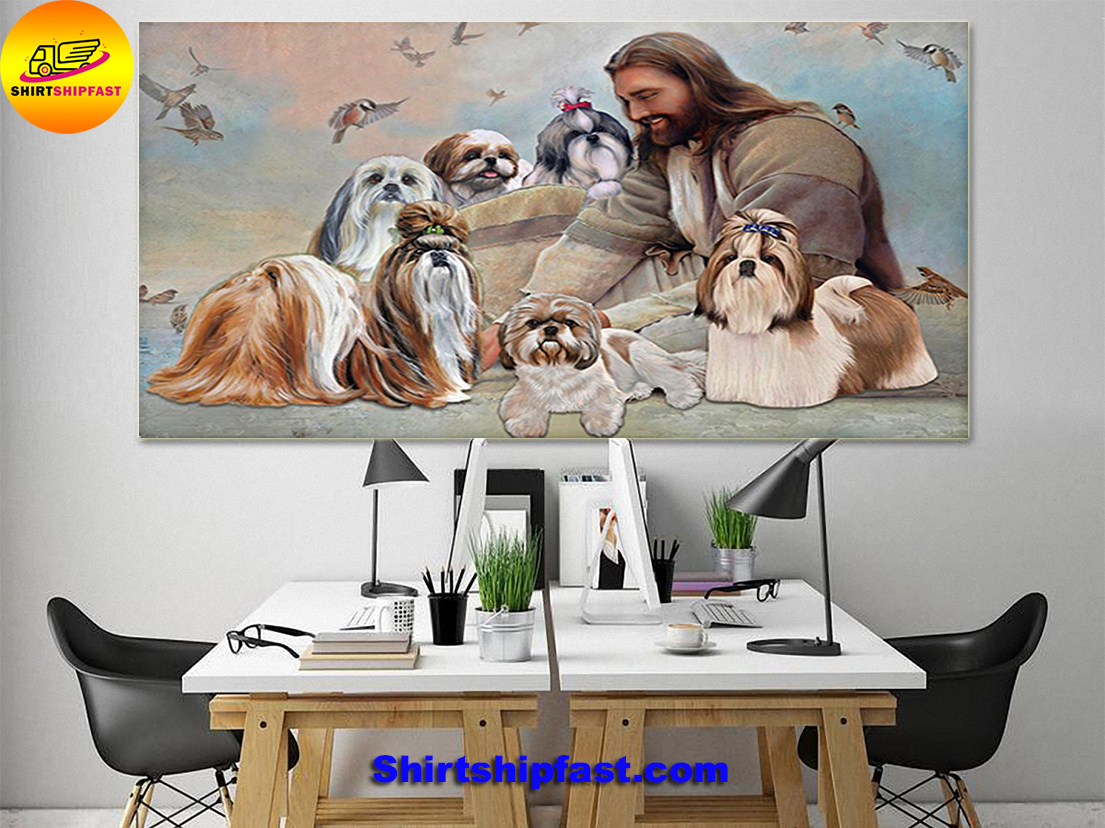 God surrounded by Shih Tzu angels gift for you poster - Picture 1