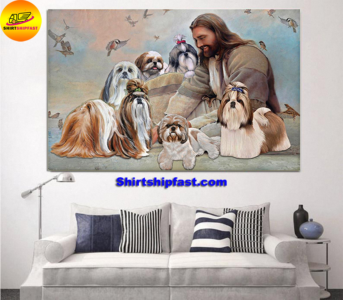 God surrounded by Shih Tzu angels gift for you poster - Picture 2