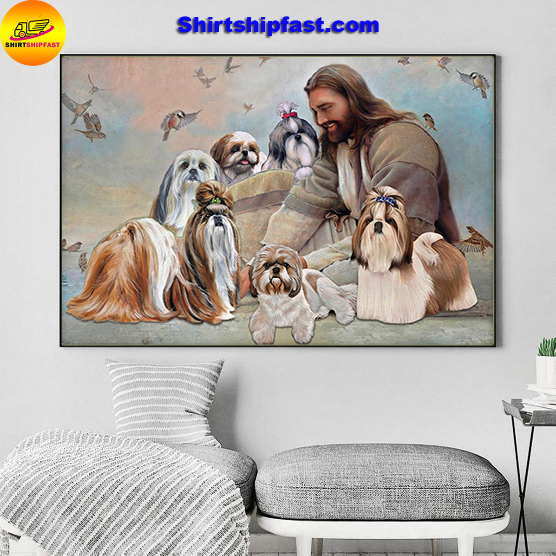 God surrounded by Shih Tzu angels gift for you poster - Picture 3
