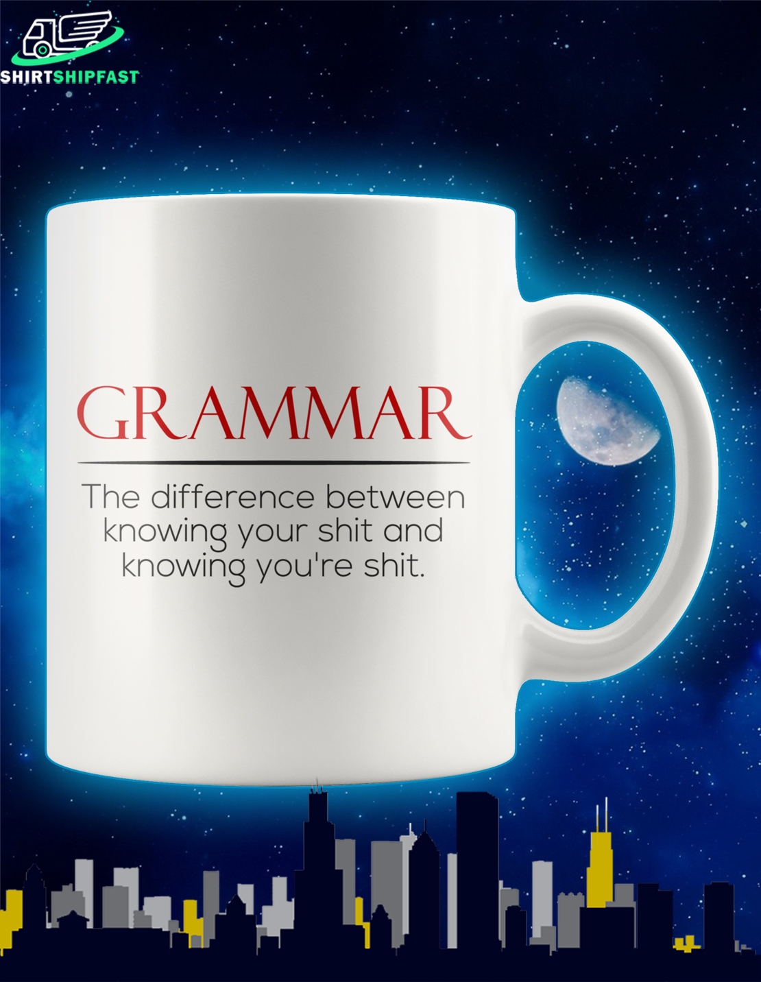 Grammar The difference between knowing your shit and knowing you're shit mug - Picture 1