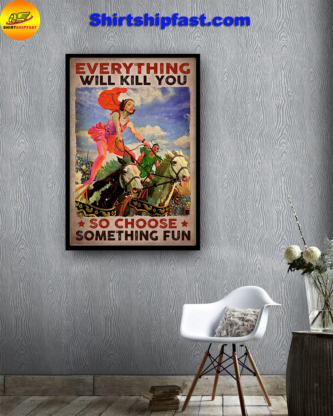 Horse vaulting Everything will kill you so choose something fun poster - Picture 3