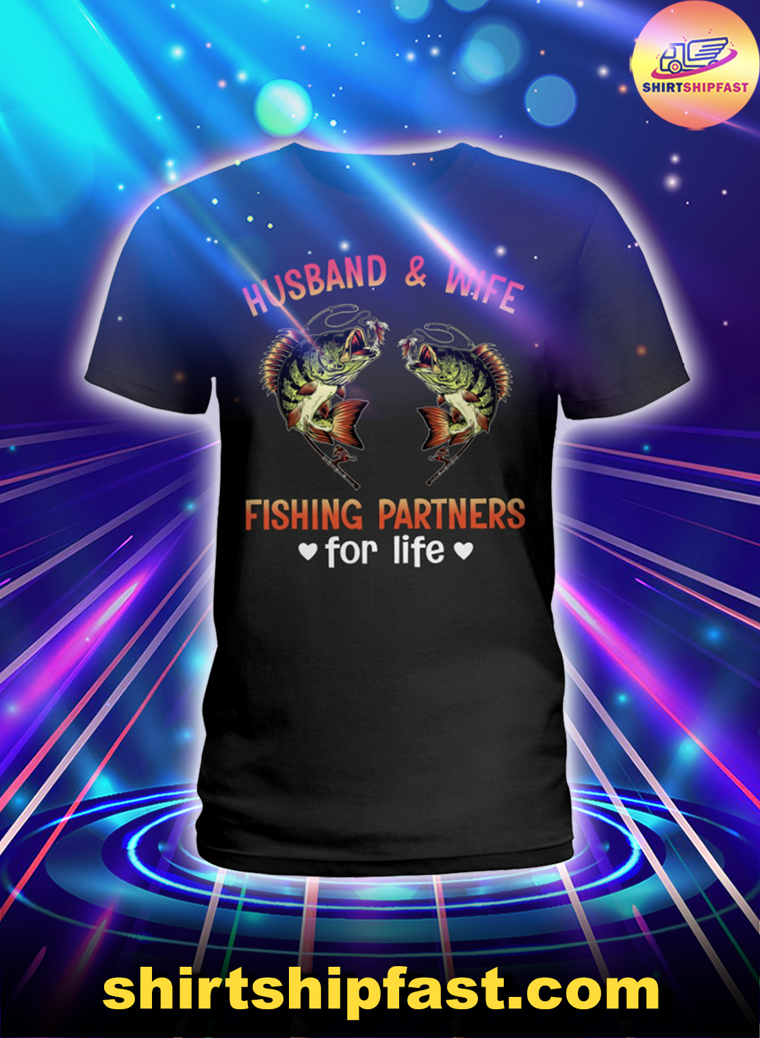 Husband and wife fishing partners for life lady shirt