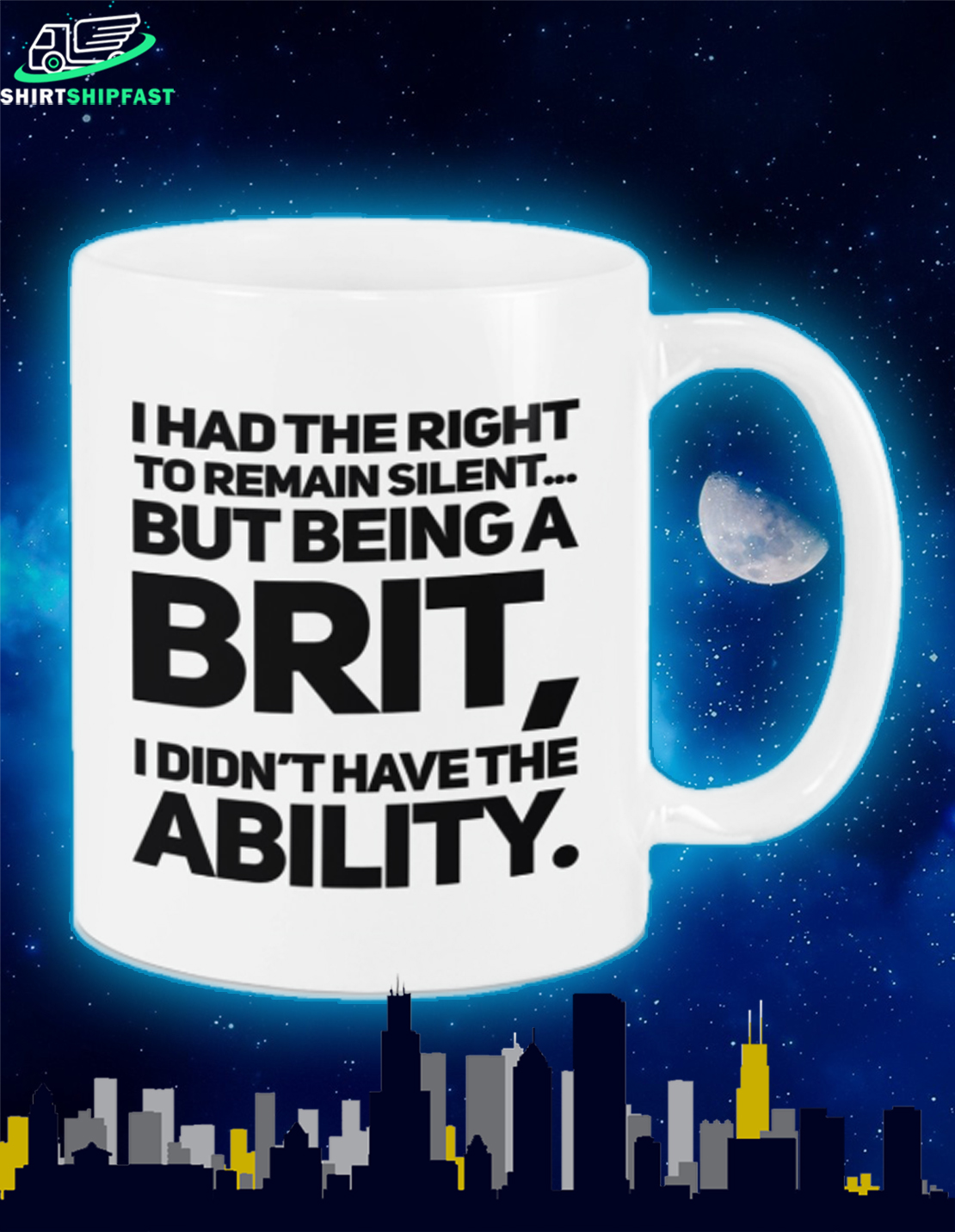 I had the right to remain silent but being a brit I didn't have the ability mug - Picture 1