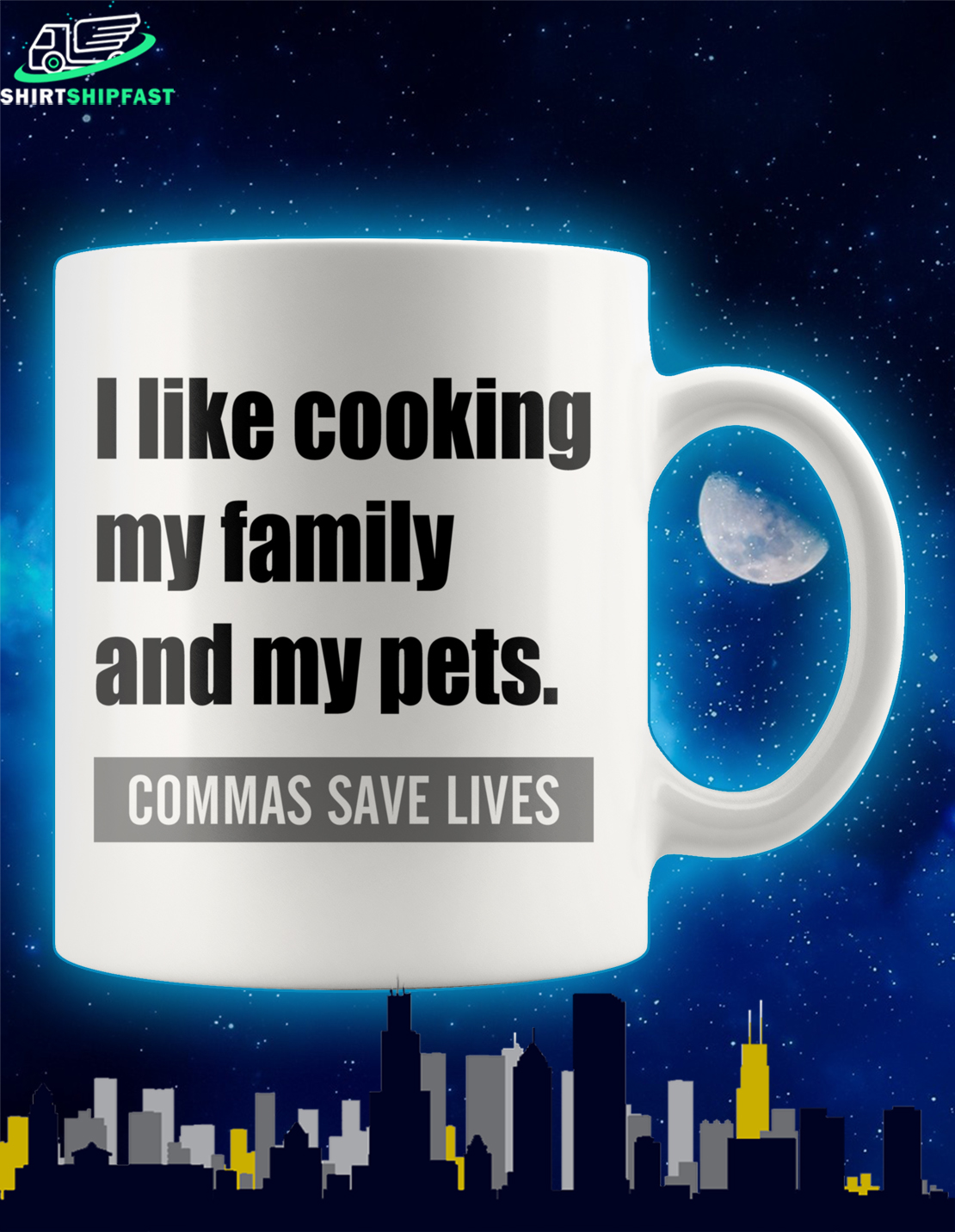 I like cooking my family and my pets commas save lives mug - Picture 1