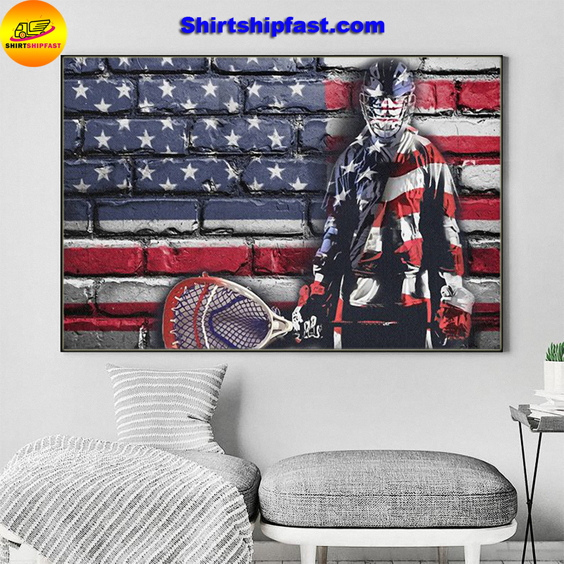 Ice hookey goalie flag poster and canvas - Picture 2