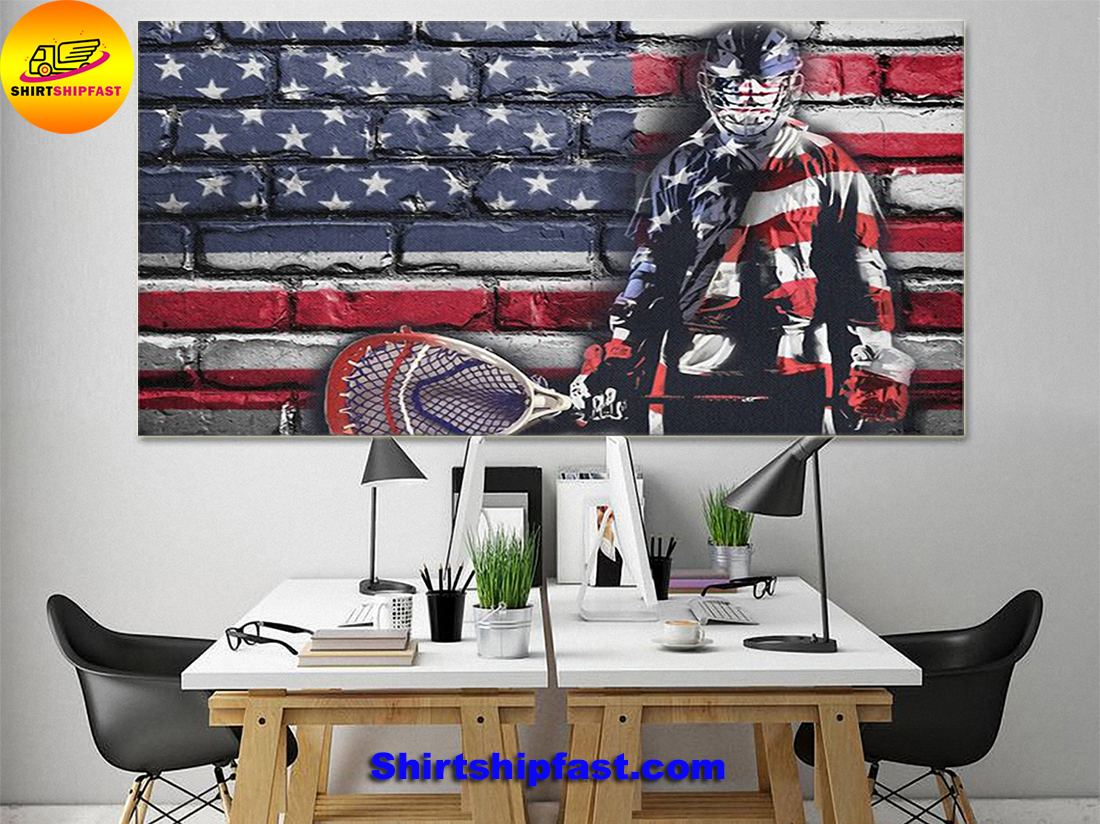Ice hookey goalie flag poster and canvas