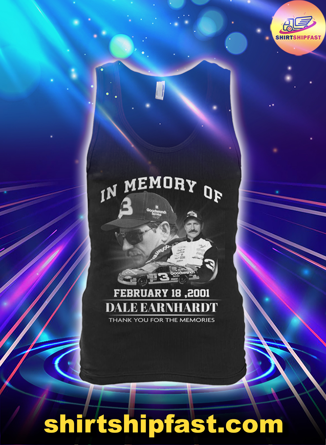 In memory of February 18 2001 Dale Earnhardt thank you for the memories tank top