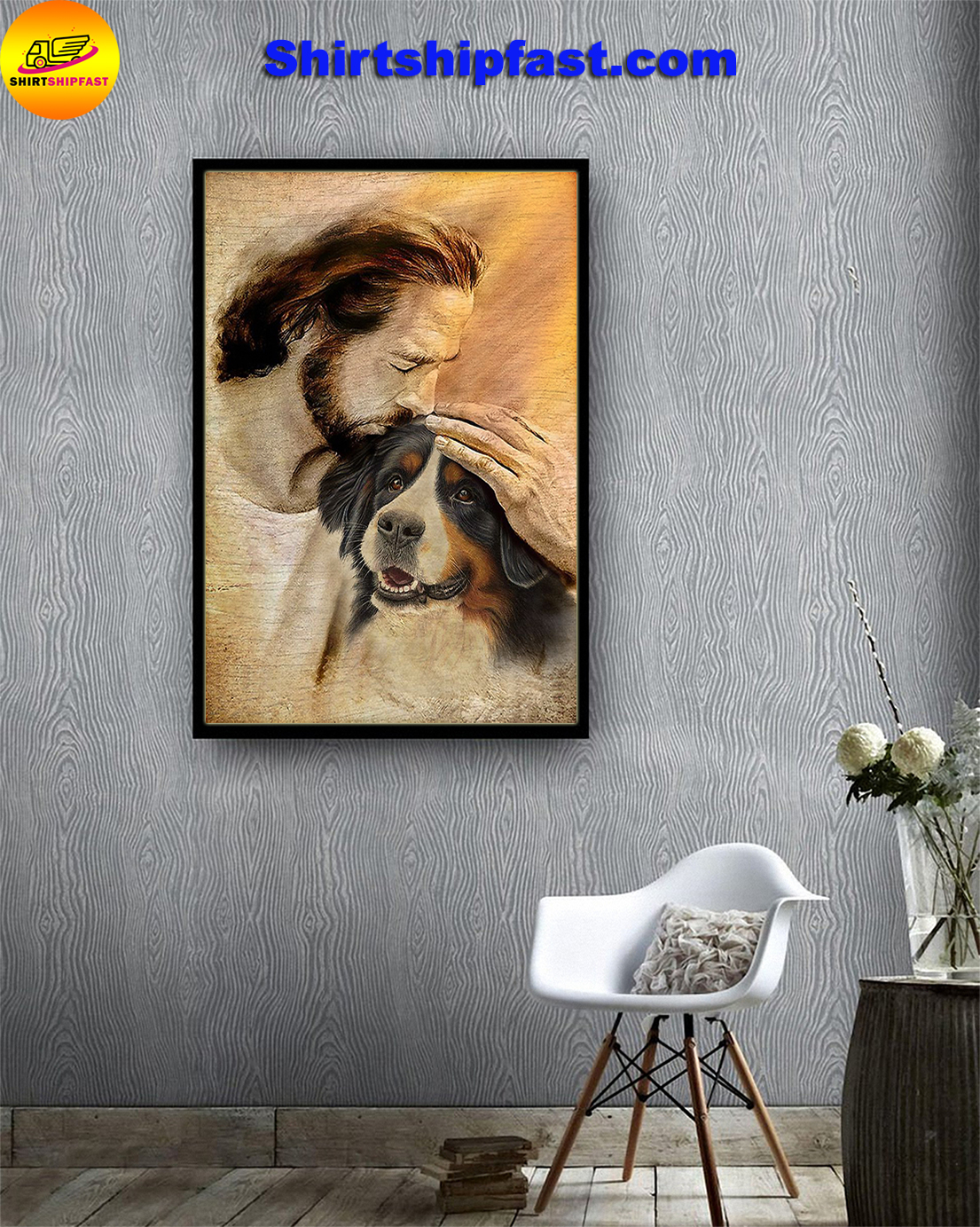 Jesus with lovely Bernese Mountain poster - Picture 1