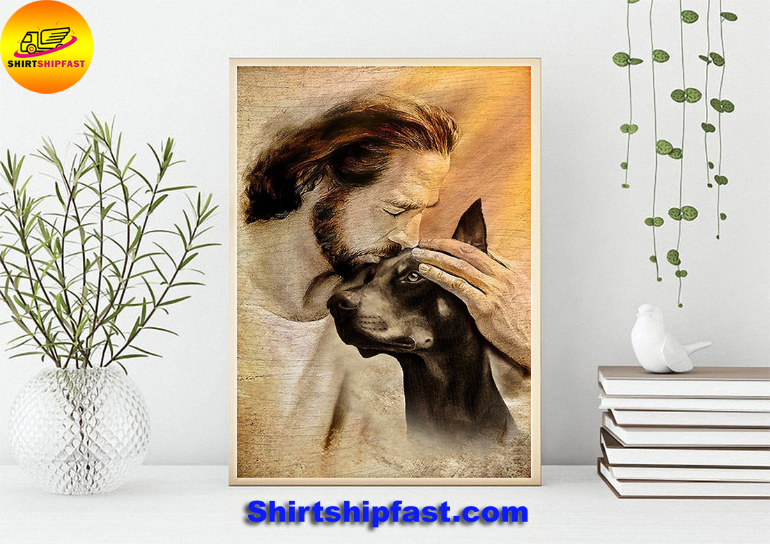 Jesus with lovely Doberman Pinscher poster - Picture 1