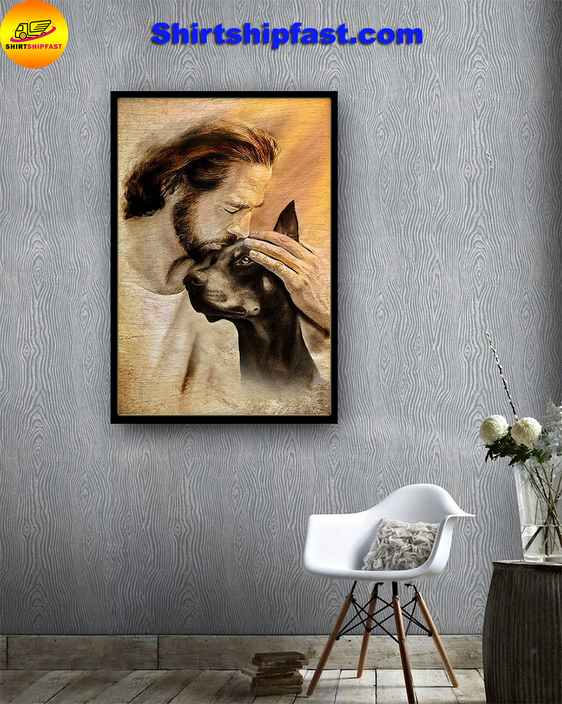 Jesus with lovely Doberman Pinscher poster - Picture 2