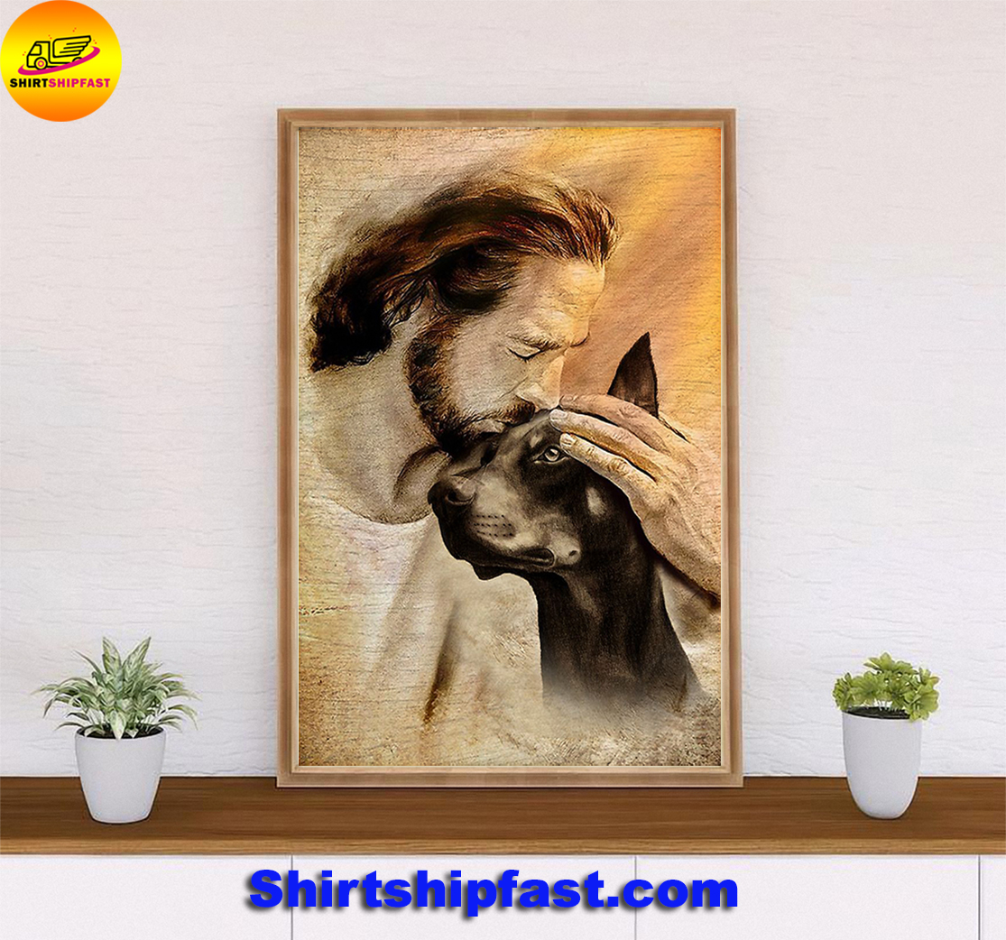 Jesus with lovely Doberman Pinscher poster - Picture 3