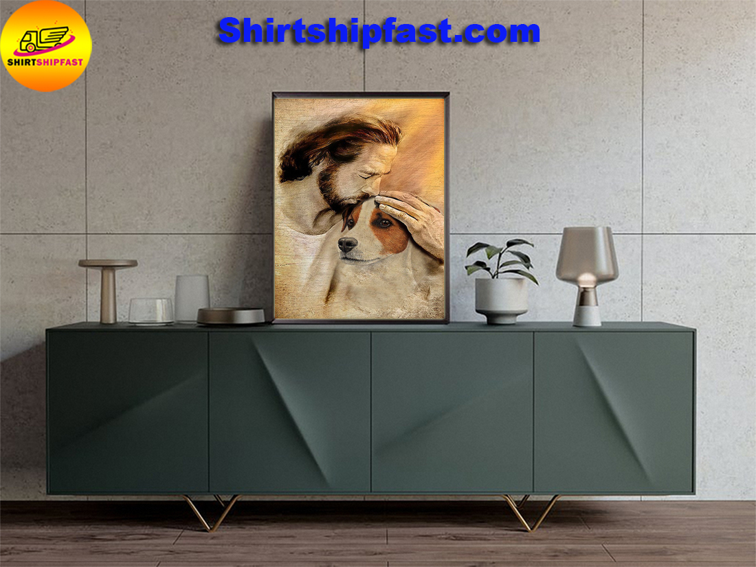 Jesus with lovely Jack Russell Terrier poster