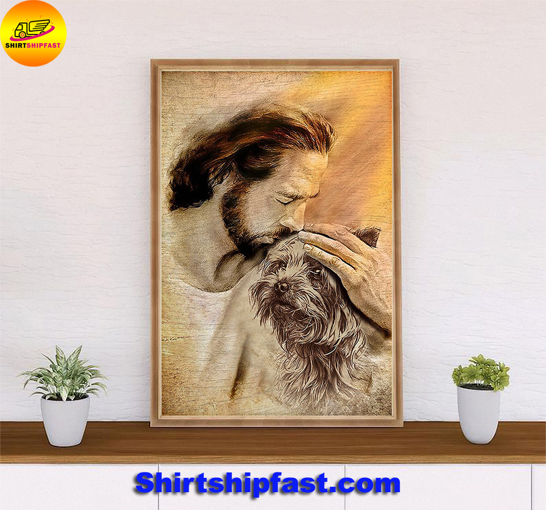 Jesus with lovely Yorkshire Terrier poster - Picture 1