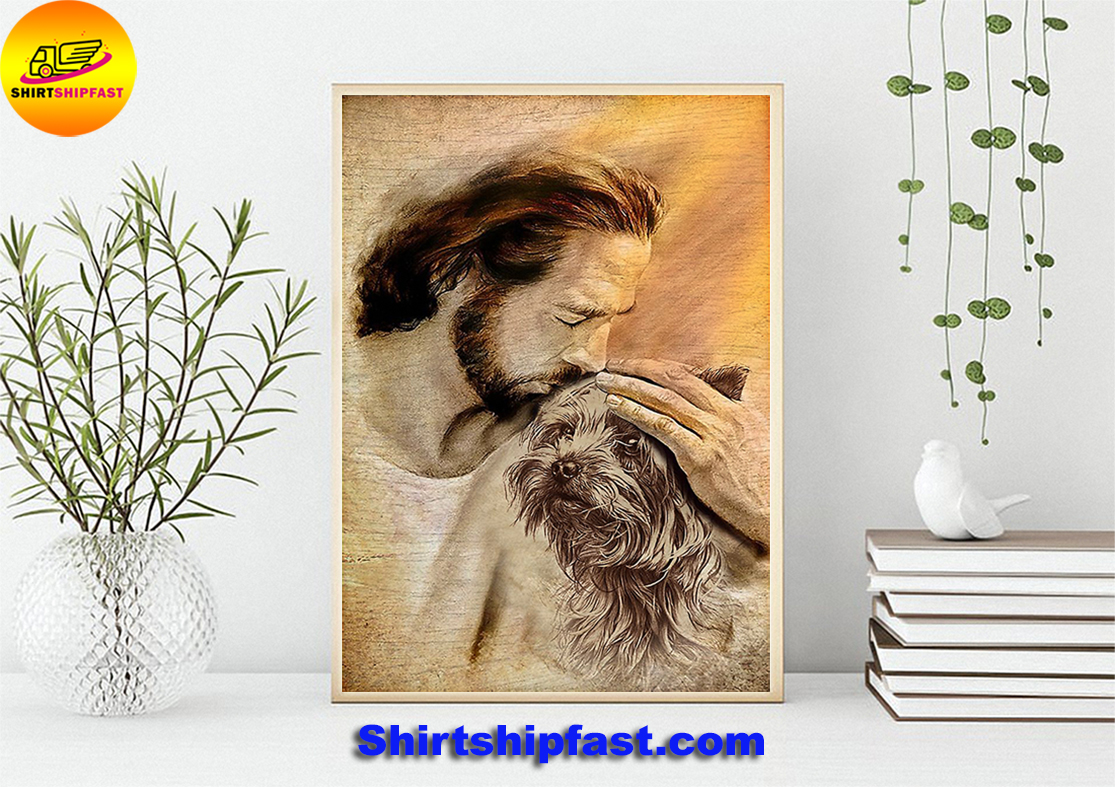 Jesus with lovely Yorkshire Terrier poster - Picture 3