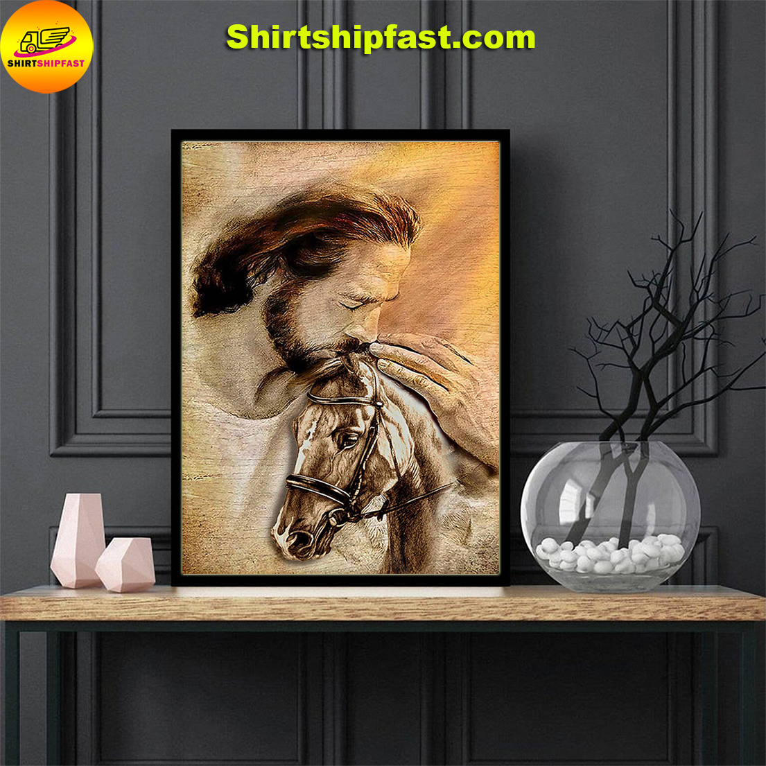 Jesus with lovely horse poster - Picture 1