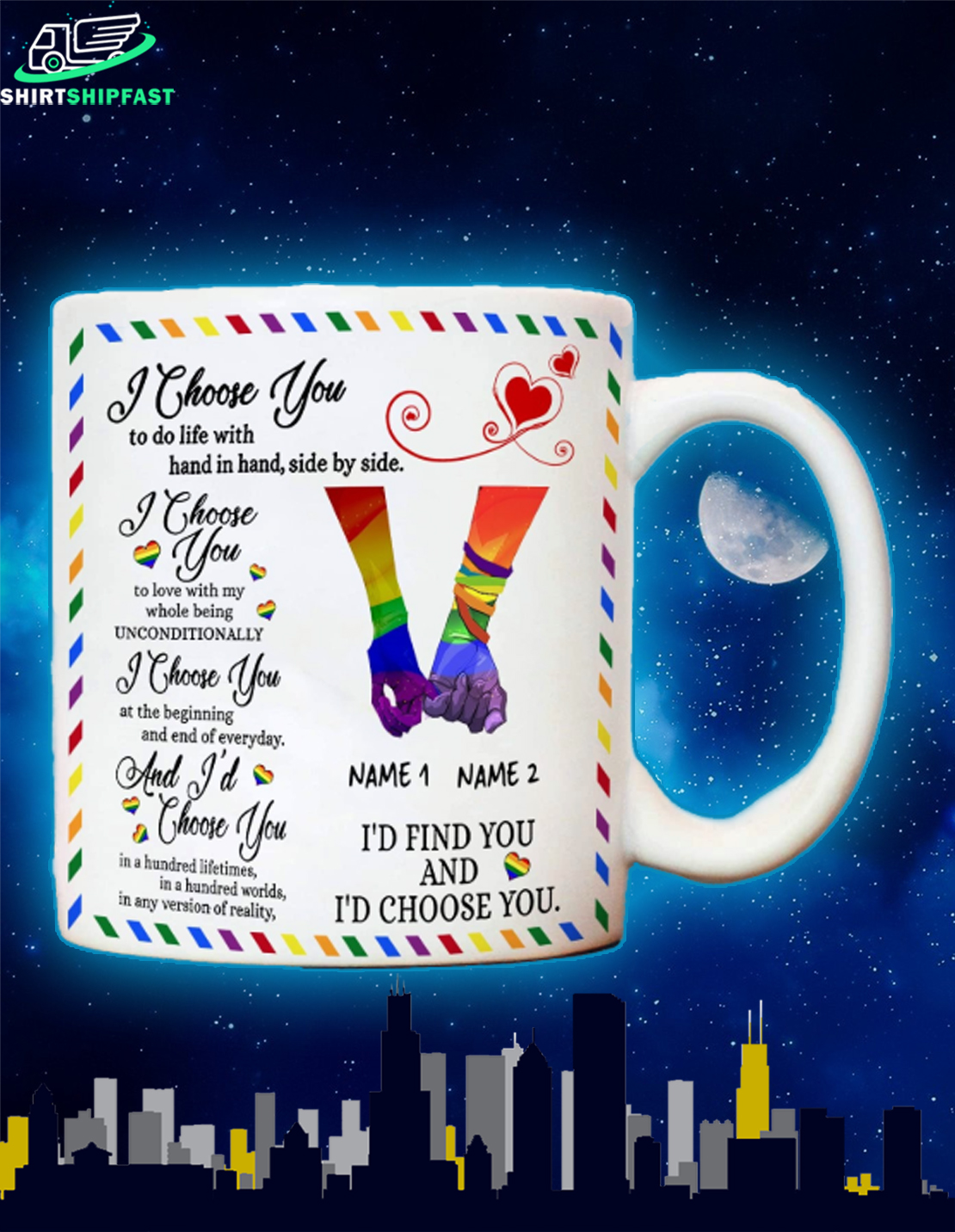 LGBT I'd find you and I'd choose you custom name personalized mug - Picture 1