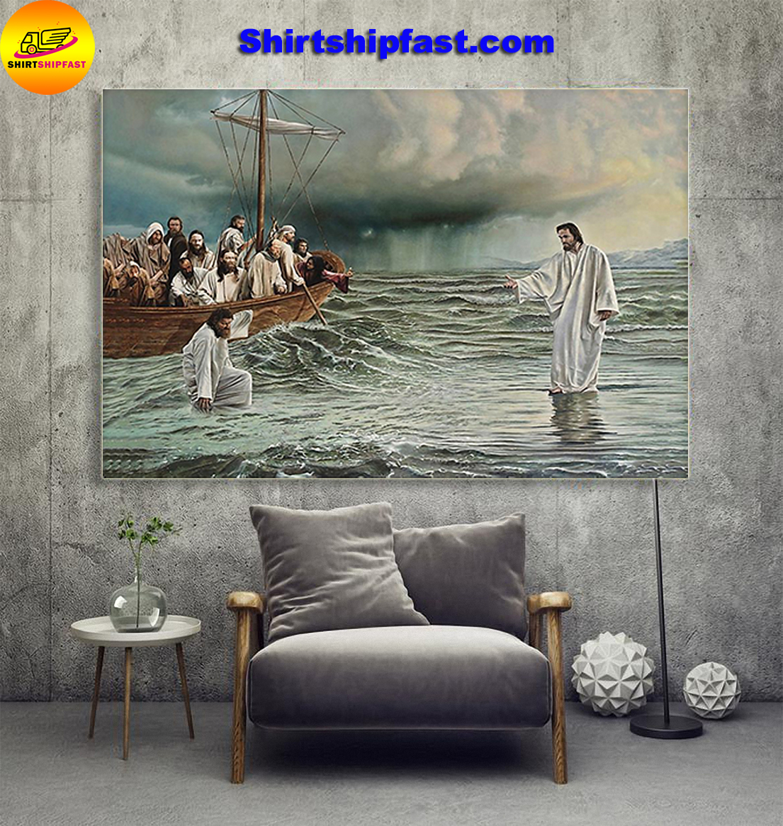 Noah's ark god jesus walks on water take my hand poster - Picture 1