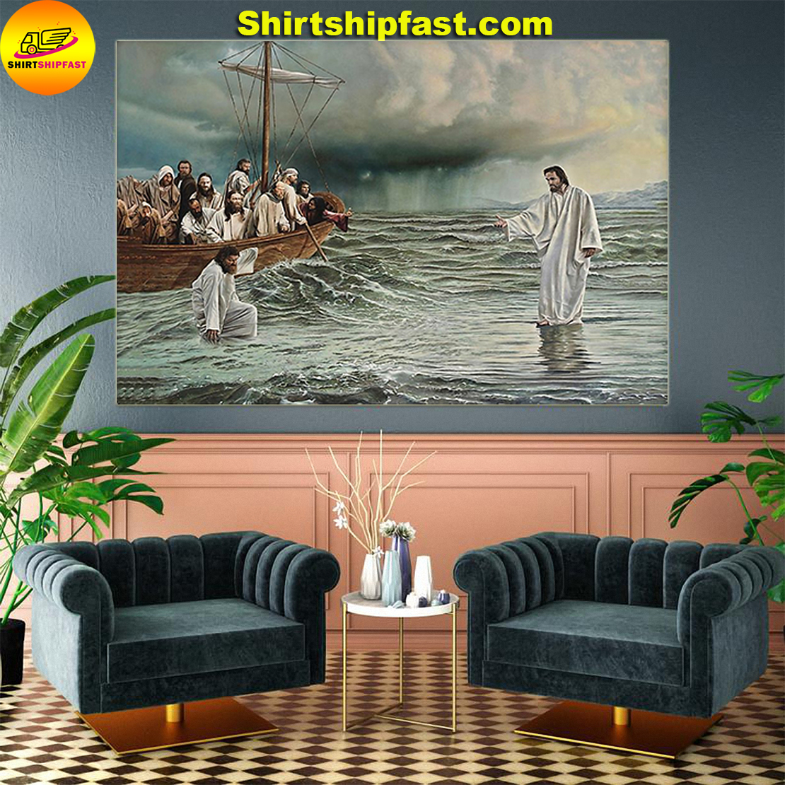 Noah's ark god jesus walks on water take my hand poster - Picture 2