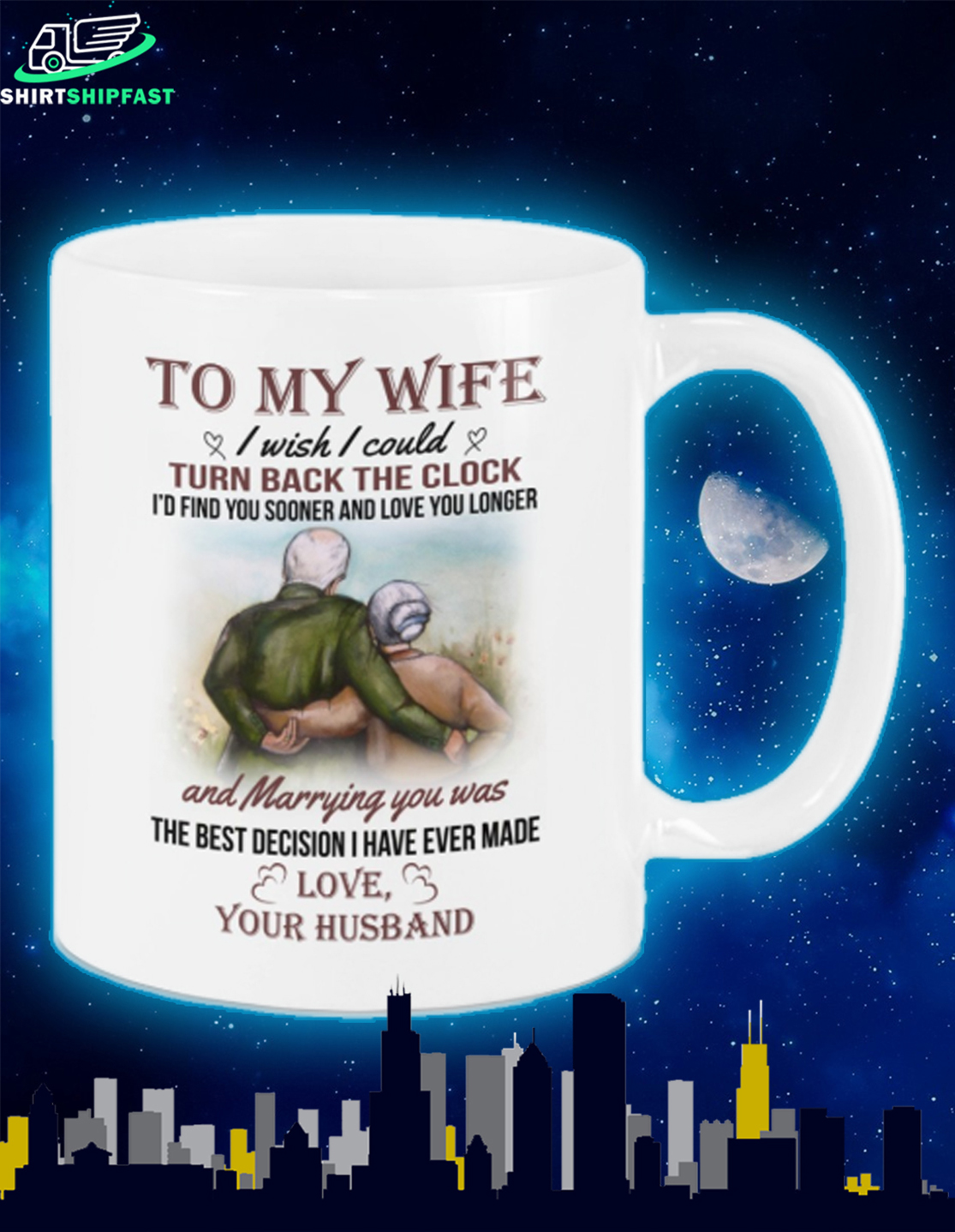 Old couple To my wife I wish I could turn back the clock mug - Picture 3