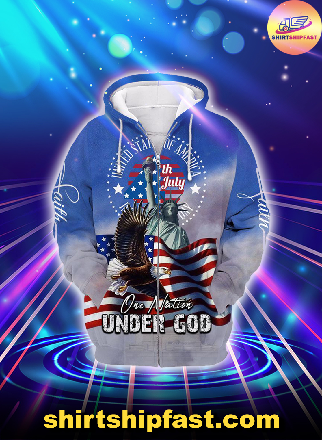 One nation under god united states of america 4th july zip hoodie