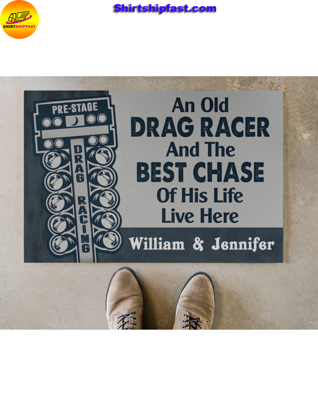 Personalized An old drag racer and the best chase of his life live here doormat - Picture 1