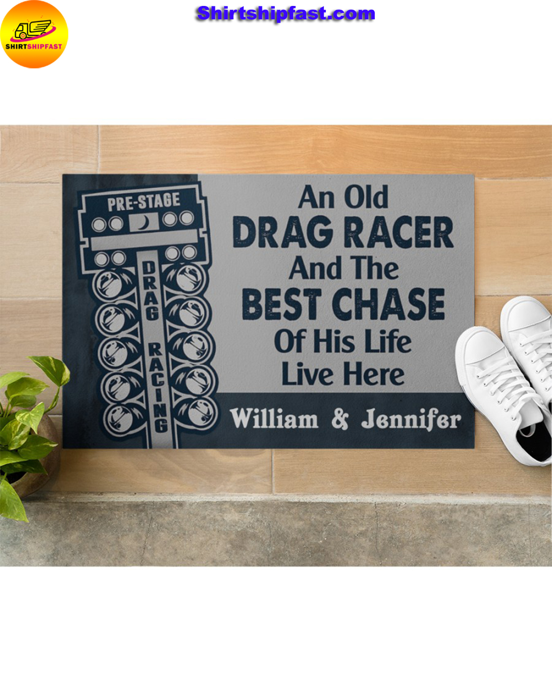 Personalized An old drag racer and the best chase of his life live here doormat - Picture 2