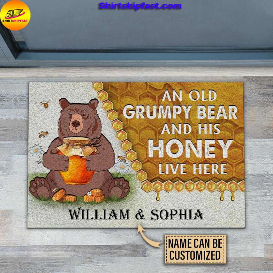 Personalized Bear and his honey bee live here customized doormat - Picture 1