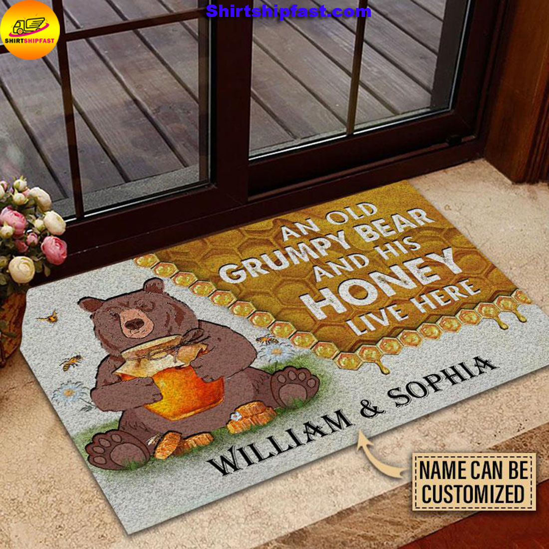 Personalized Bear and his honey bee live here customized doormat