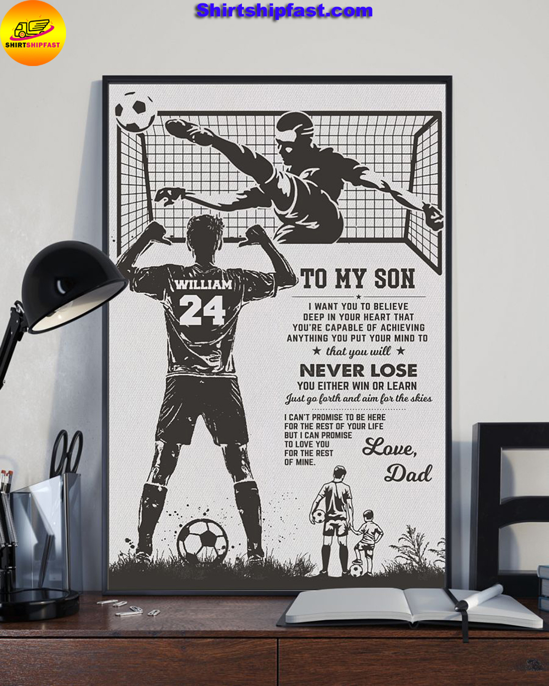 Personalized Soccer Dad To my son poster