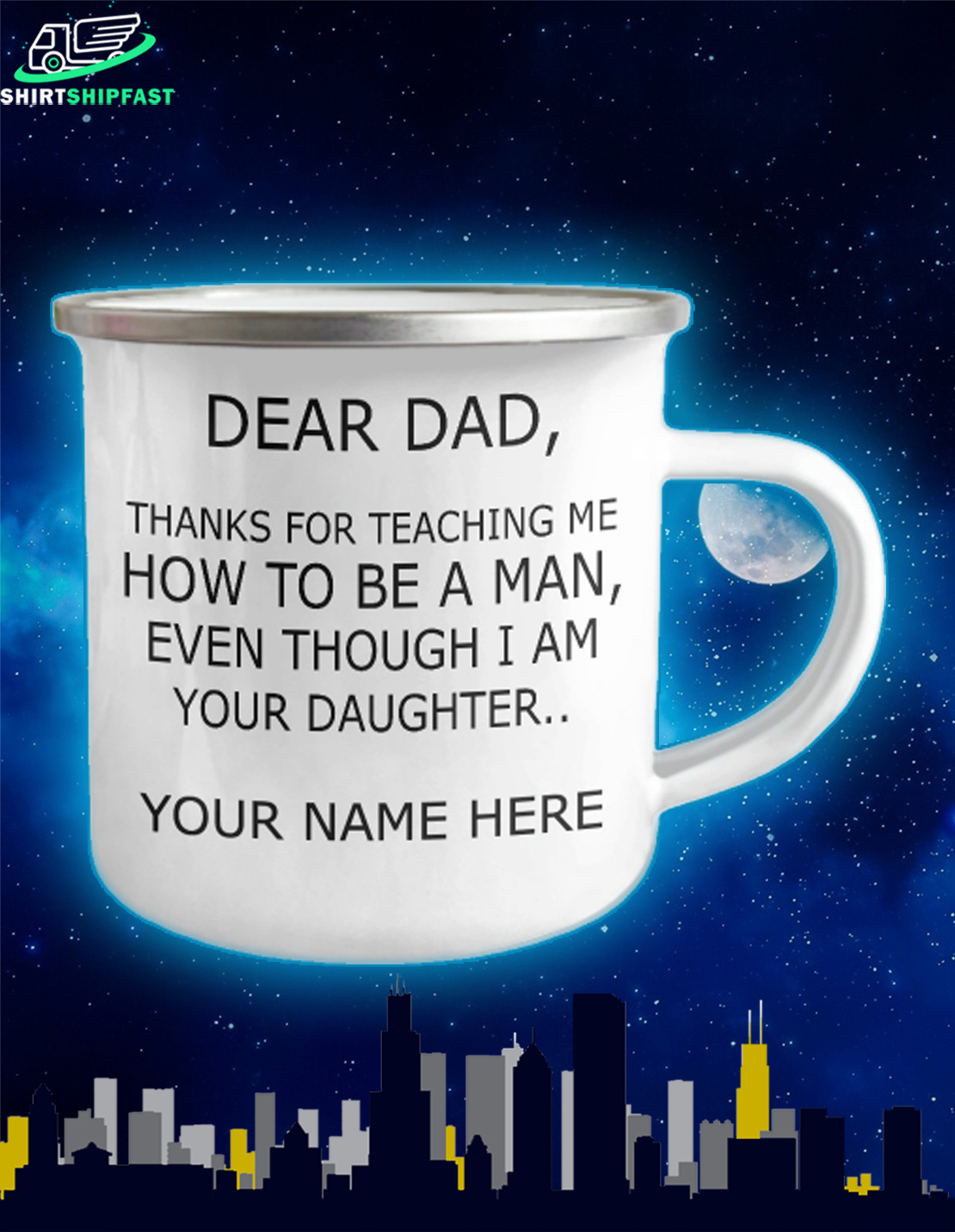 Personalized dear dad thanks for teaching me how to be a man campfire mug - Picture 2