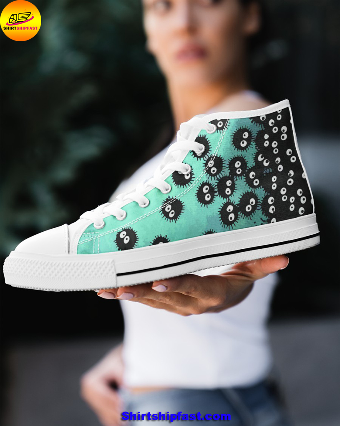 Susuwatari soot sprites high top shoes - Picture 1