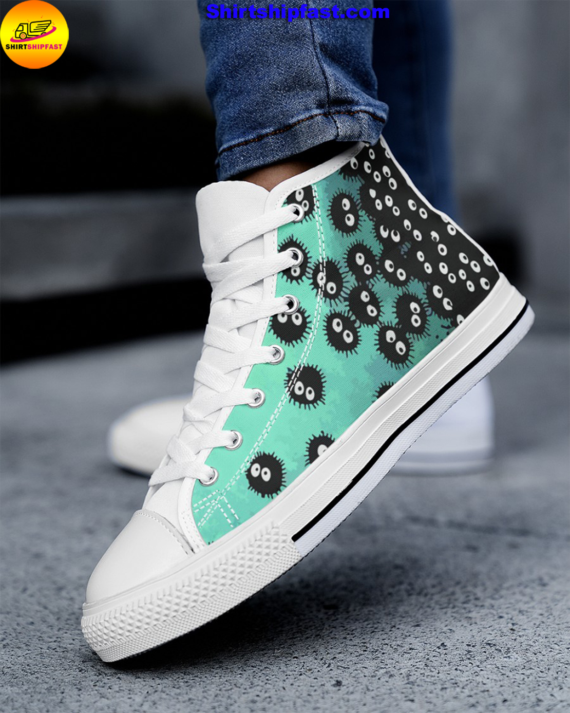 Susuwatari soot sprites high top shoes - Picture 2