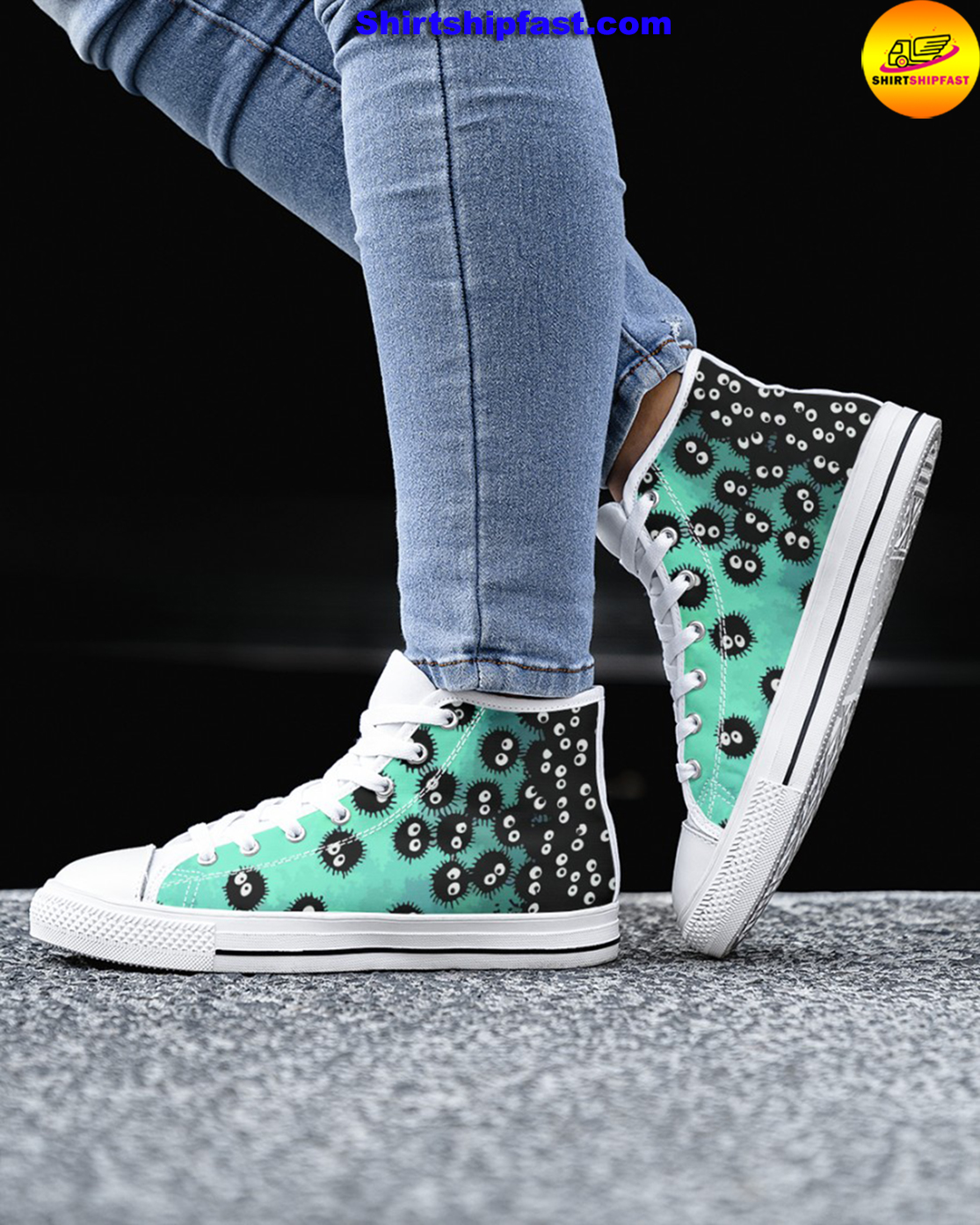 Susuwatari soot sprites high top shoes - Picture 3