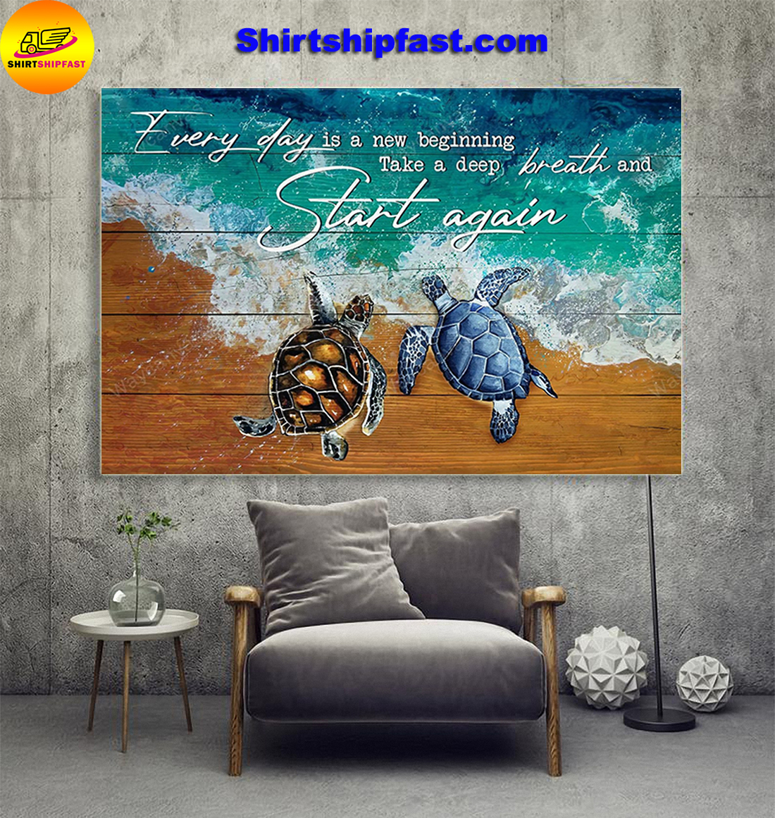 Turtle Jesus Every day is a new beginning take a deep breath and start again canvas