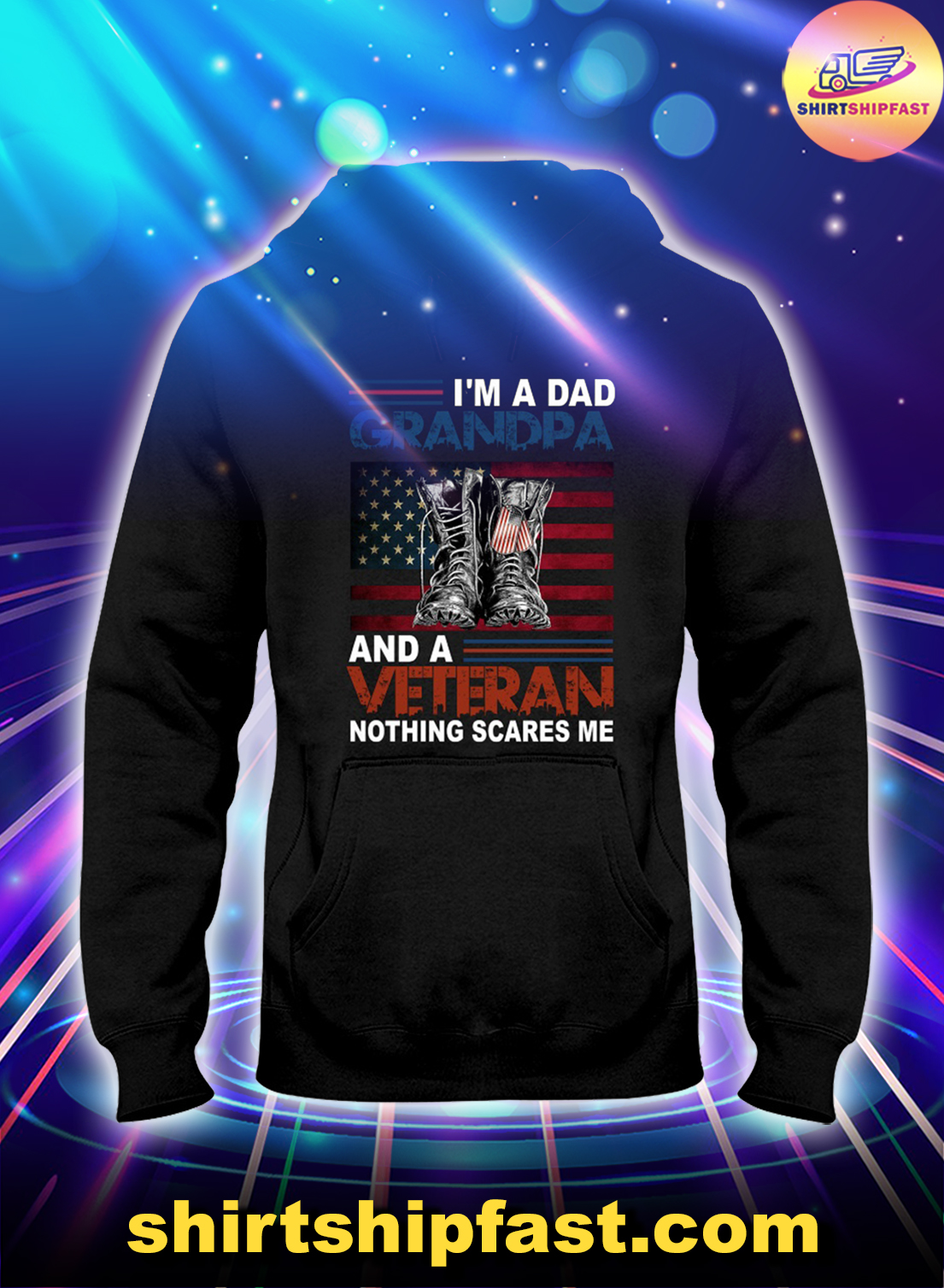 Vintage I'm a dad grandpa and a veteran no thing scares me hoodie