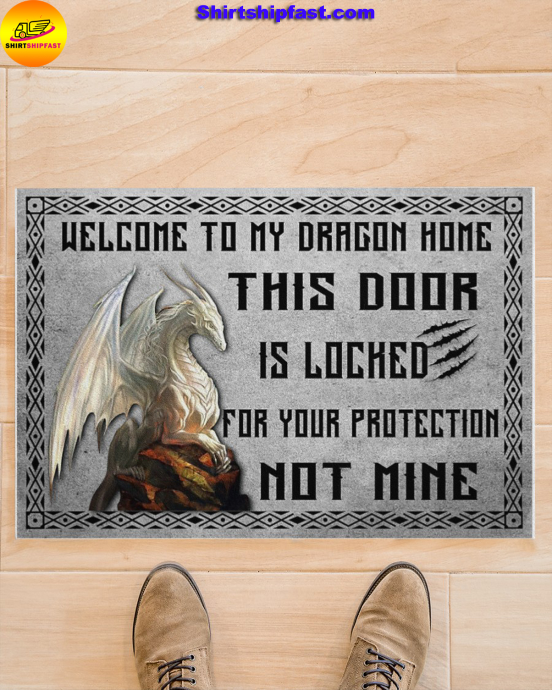 Welcome to my dragon home this door is locked for your protection not mine doormat - Picture 1