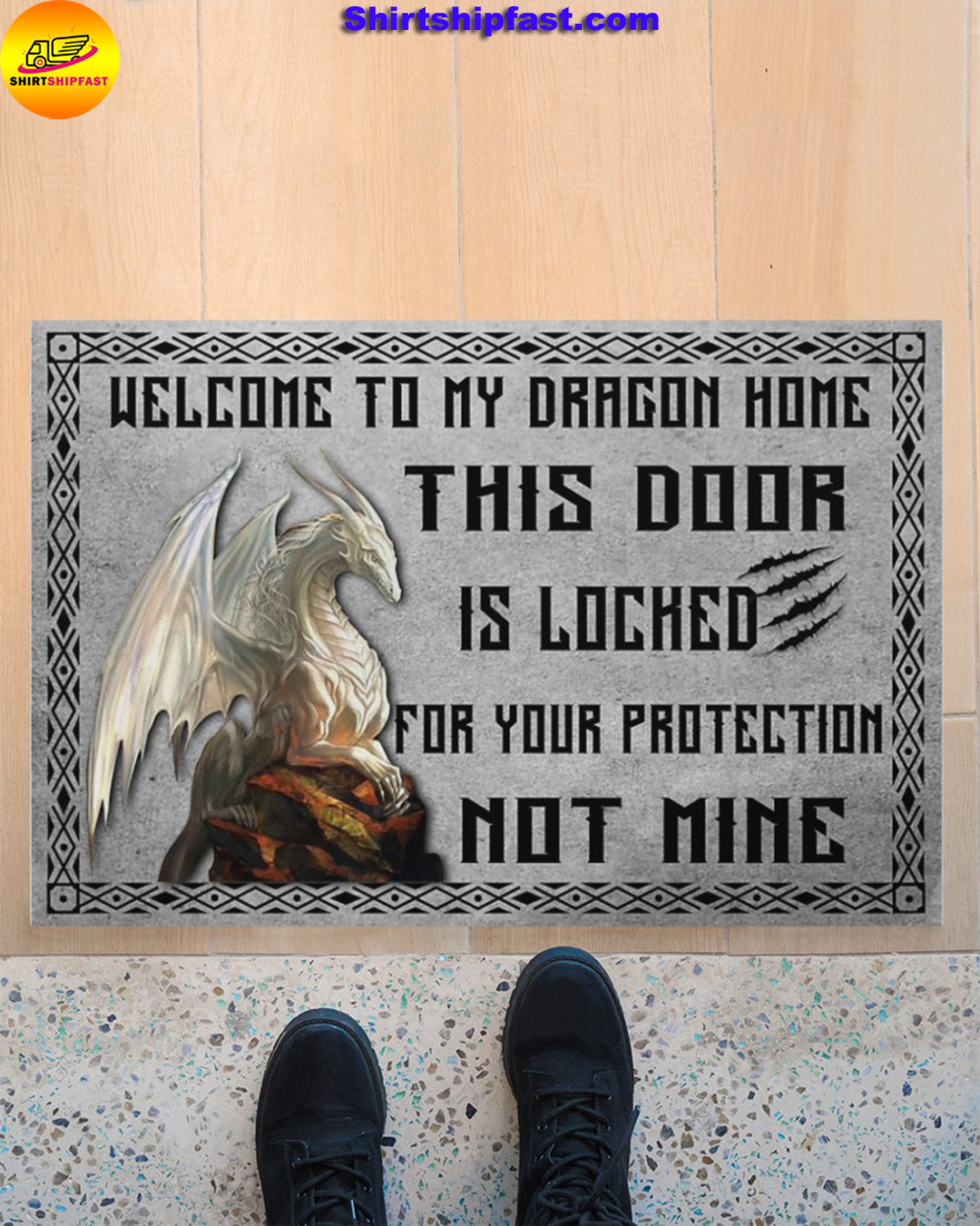 Welcome to my dragon home this door is locked for your protection not mine doormat - Picture 2